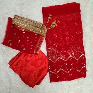 Unstitiched Lucknowi Suit Fabric